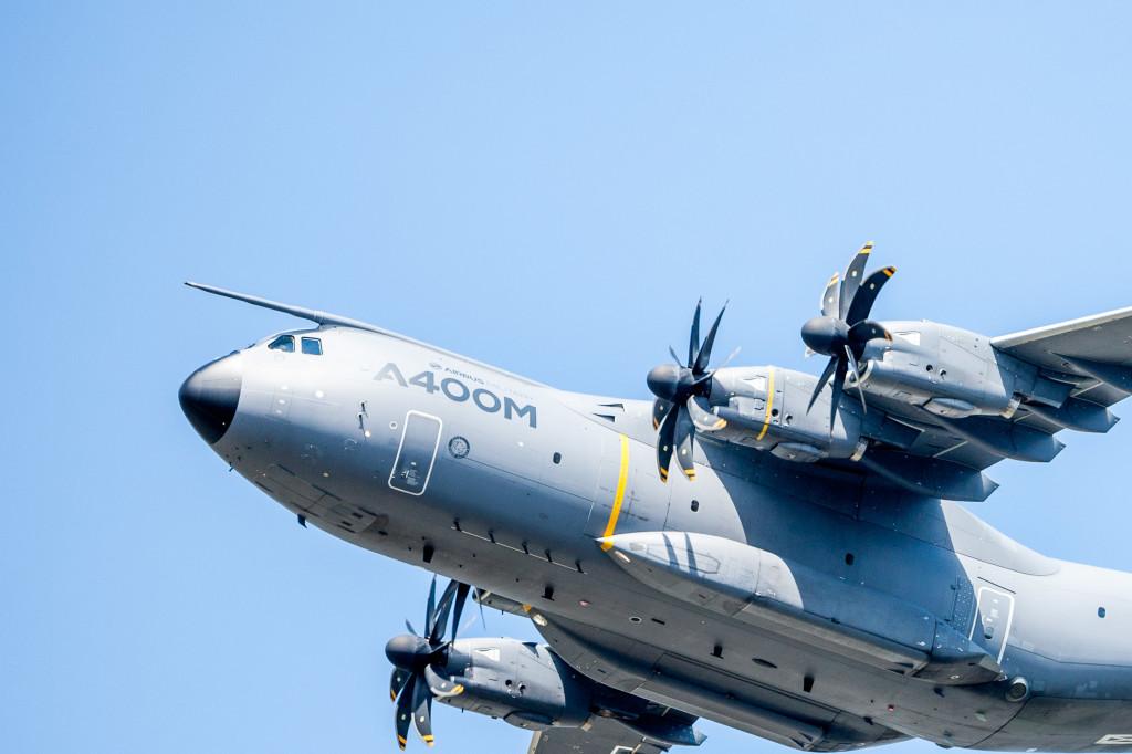 A400M flying at Farnborough Air Show 2014