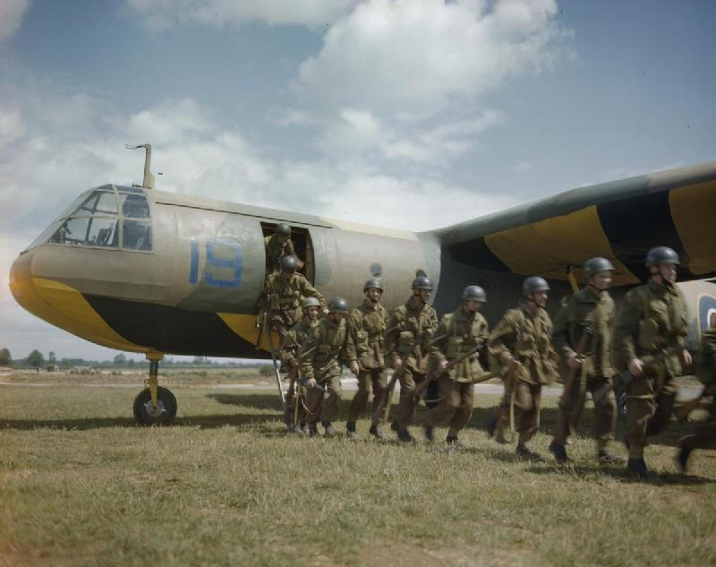 Paratroops leaving an Airspeed Horsa Glider a training aircraft of No 21 Heavy Glider Conversion Unit at Brize Norton 4 June 1943