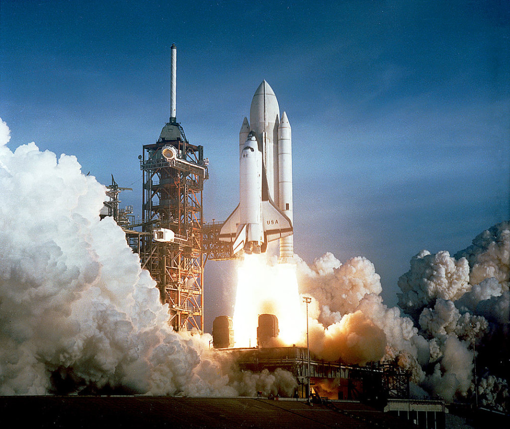 Space Shuttle Columbia launching by NASA - Great Images in NASA Licensed under Public Domain via Commons